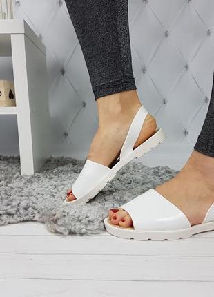 Босоножки силиконовые белые, женские босоножки на низком каблуке, босоножки низкий ход белые3 фото