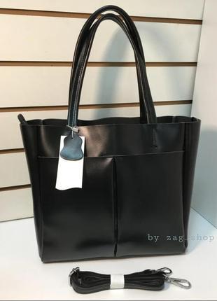 Женская кожаная сумка шопер с ручками на плечо чёрная городская сумка а4 под документы ноутбук