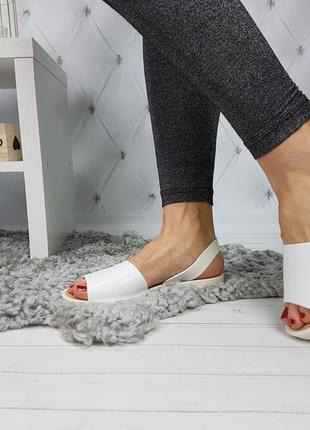 Босоножки силиконовые белые, женские босоножки на низком каблуке, босоножки низкий ход белые2 фото