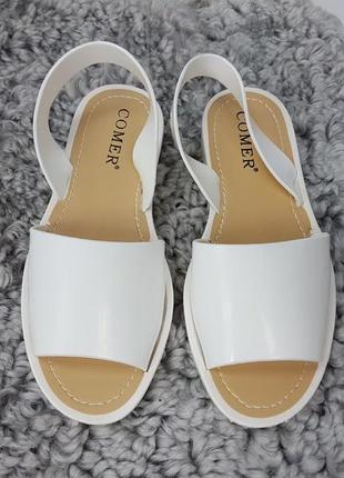 Босоножки силиконовые белые, женские босоножки на низком каблуке, босоножки низкий ход белые4 фото