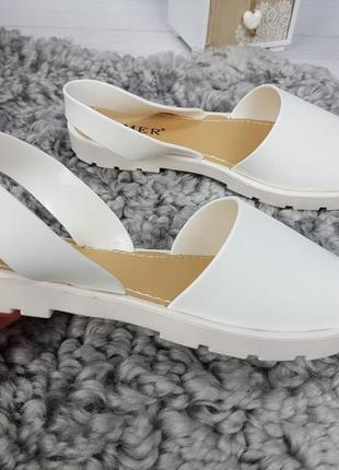 Босоножки силиконовые белые, женские босоножки на низком каблуке, босоножки низкий ход белые5 фото