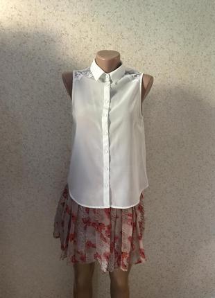 Белая блузка под шифон без рукавов р.36/s