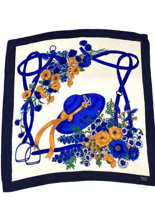 Винтажный шелковый шарф платок цветочные мотивы, шляпа, стремена gucci оригинал !