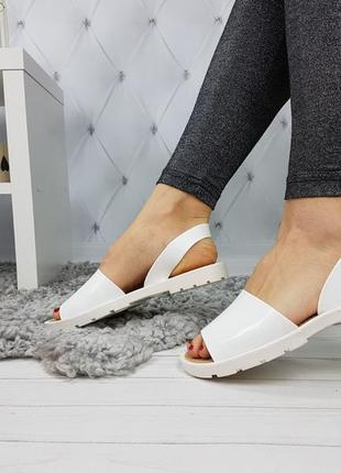 Босоножки силиконовые белые, женские босоножки на низком каблуке, босоножки низкий ход белые