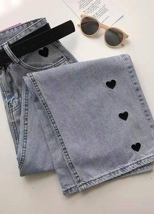 Крутые джинсы с сердечками💔4 фото