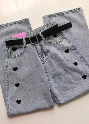 Крутые джинсы с сердечками💔3 фото