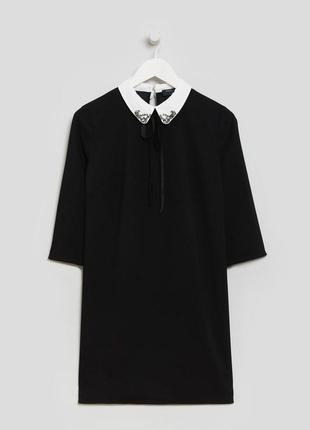 Papaya платье чёрное прямое трапеция с белым воротником и камушками рукав 3/4 свободное