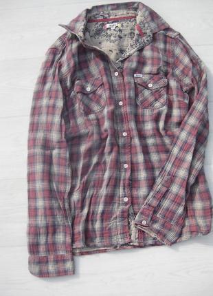 Рубашка roxy в клетку коттон двойная ткань