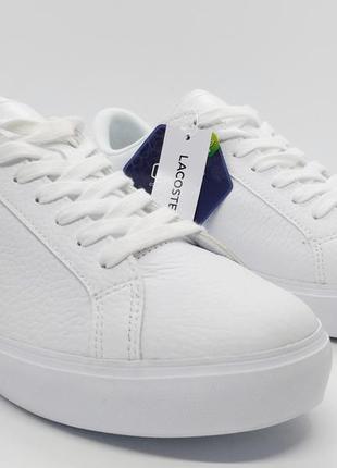 Белые кожаные кроссовки кеды мокасины lacoste со стельками ortholite оригинал