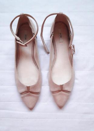 Замшевые бежевые туфли,балетки kiomi