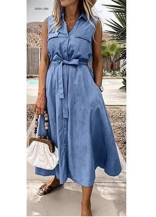 Женское платье джинс под пояс летнее opt518 0266
