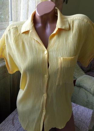 Женская рубашка жатка. нежный лимонный цвет