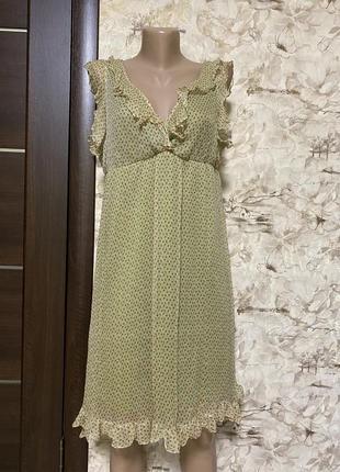 Воздушное шёлковое платье в принт с рюшами esologue