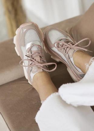 Кроссовки розового и белого цвета натуральная кожа массивная подошва