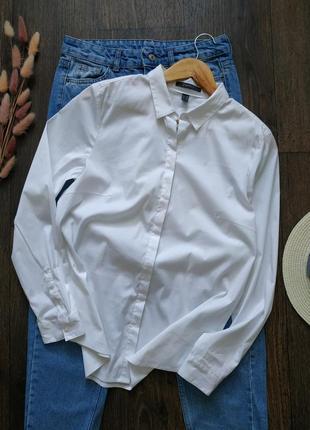 Натуральная базовая белая рубашка, оверсайз