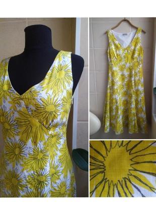 Яркое летнее платье принт ромашки из натуральной ткани