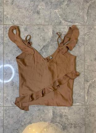Распродажа все по 200 грн 🔥🔥🔥 шоколадная сатиновая блуза на бретельках