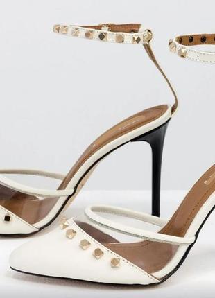 Дизайнерские туфли на шпильке  из натуральной итальянской кожи молочного и вставками силикона