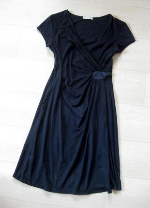 Очень крутое тёмно синее замшевое платье promod