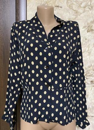 Роскошная рубашка пиджачного типа в горох,вискоза masai