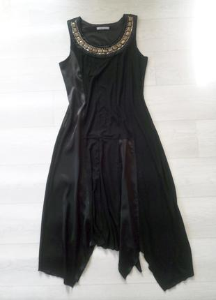 Крутое платье green house чёрное ассиметричное длинное с декором