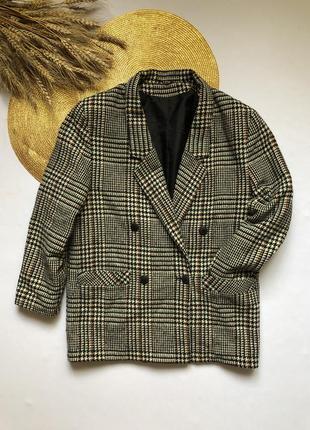 Шерстяной пиджак пальто в клетку debenhams