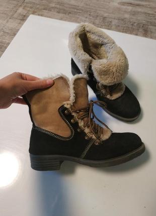 Стильные замшевые зимние ботинки на шнуровка1 фото