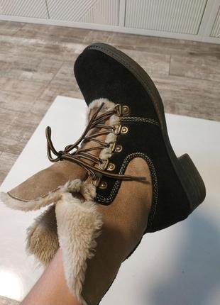 Стильные замшевые зимние ботинки на шнуровка4 фото