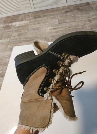 Стильные замшевые зимние ботинки на шнуровка3 фото