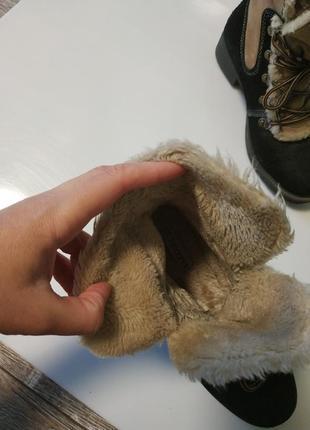 Стильные замшевые зимние ботинки на шнуровка6 фото