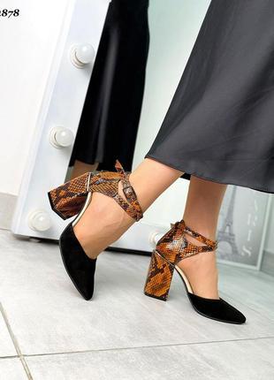 Туфли на высоком каблуке замшывые кожаные под рептилию