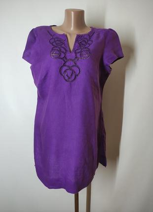 Фиолетовая натуральная льняная блузка футболка