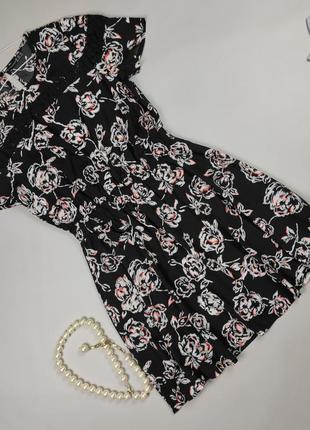 Платье мини легкое летнее в принт uk 12-14