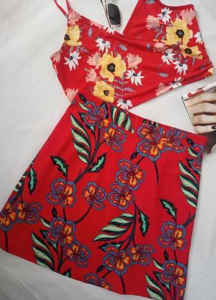 Яркая летняя юбка из вискозы, цветочный принт papaya
