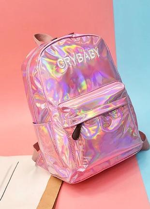 Голографический рюкзак (портфель, сумка) розовый crybaby блестящий бензиновый неоновый