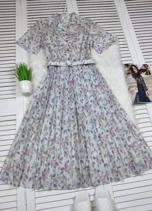 Винтажное платье-миди плиссе в цветочный принт heather valley