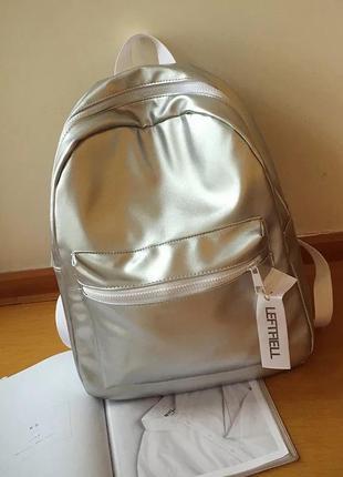 Серебристый рюкзак (портфель, сумка) серебряный эко кожа