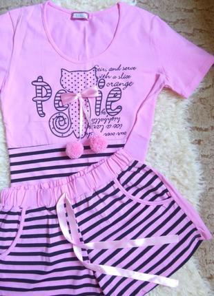 Милая розовая пижама /костюм для дома/ 90% хлопок/ турция
