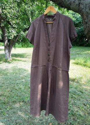 Шикарное шоколадное льняное платье батал большого размера