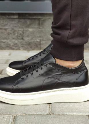 Акция 🥳 мужские черные кроссовки натуральная кожа на белой подошве