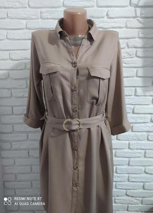 Короткое платье -туника в стиле сафари