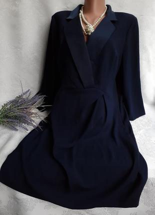 Платье строгое деловое темно-синие рукав три четверти юбка карандаш
