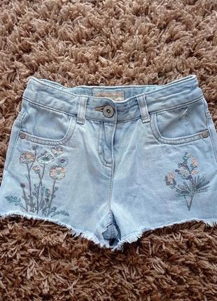 Шикарні джинсові шорти з вишивкою і паєтками next