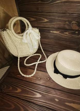 Комплект женская соломенная сумка кремовая и шляпа канотье кремовая