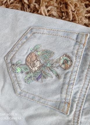 Шикарні джинсові шорти з вишивкою і паєтками next2 фото