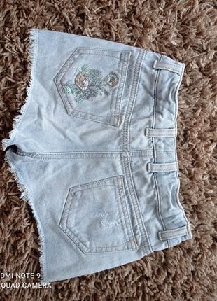 Шикарні джинсові шорти з вишивкою і паєтками next7 фото