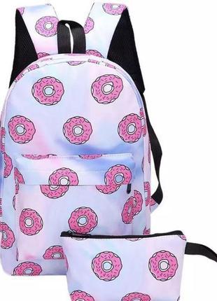 Комплект 2в1 рюкзак (портфель) пенал (косметичка) пончики набор розовый
