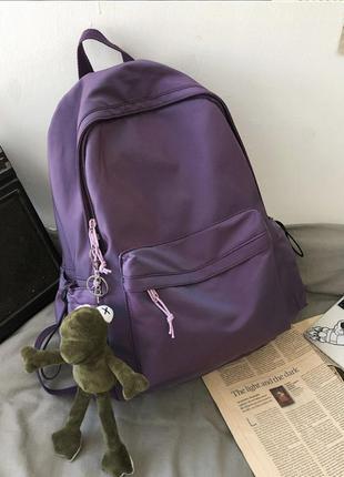 Рюкзак с подарком (брелок жаба) лягушка портфель сумка фиолетовый перелив