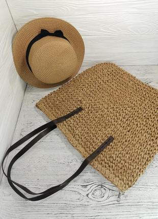 Комплект сумка - шоппер женская из рафии плетенная соломенная и шляпа канотье бежевая 54-58