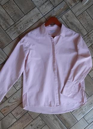 Розовая хлопковая рубашка сорочка свободного кроя
